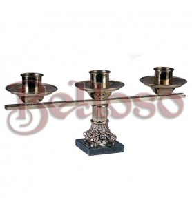 CANDELABRO 412 DE 3 LUCES METAL SU COLOR 50X18 CM