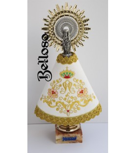 VIRGEN PILAR CON MANTO BORDADO
